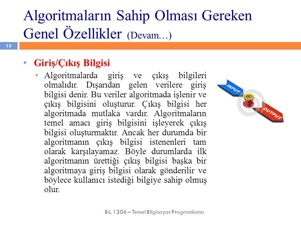 Algoritmaların Sahip Olması Gereken Genel Özellikler (Devam…) 15 BIL 1306 – Temel Bilgisayar Programlama Giriş/Çıkış Bilgisi Algoritmalarda giriş ve ç