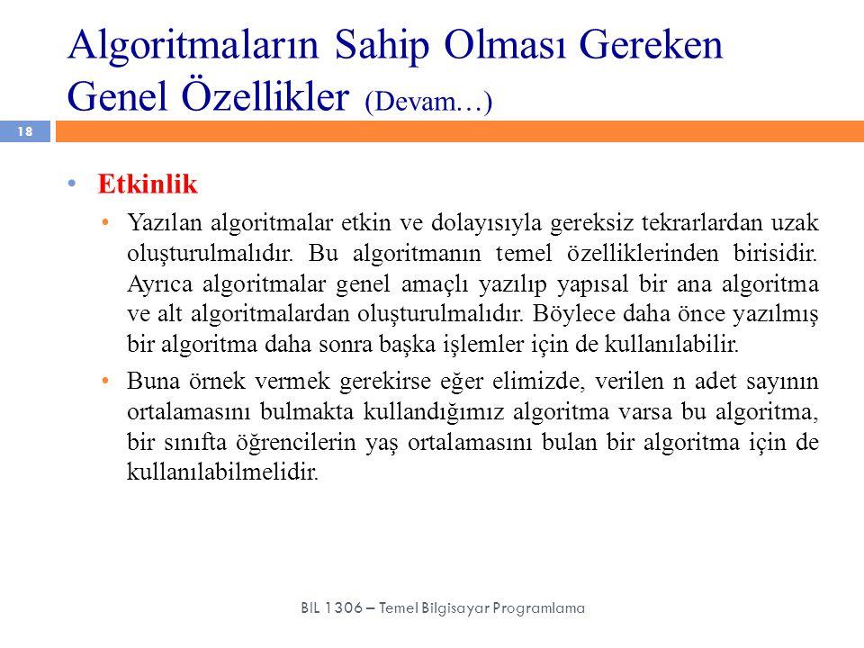 Algoritmaların Sahip Olması Gereken Genel Özellikler (Devam…) 18 BIL 1306 – Temel Bilgisayar Programlama Etkinlik Yazılan algoritmalar etkin ve dolayı