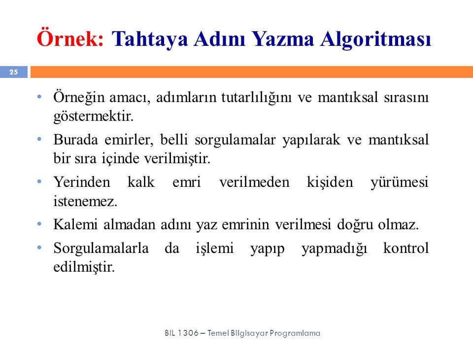 Örnek: Tahtaya Adını Yazma Algoritması 25 BIL 1306 – Temel Bilgisayar Programlama Örneğin amacı, adımların tutarlılığını ve mantıksal sırasını gösterm