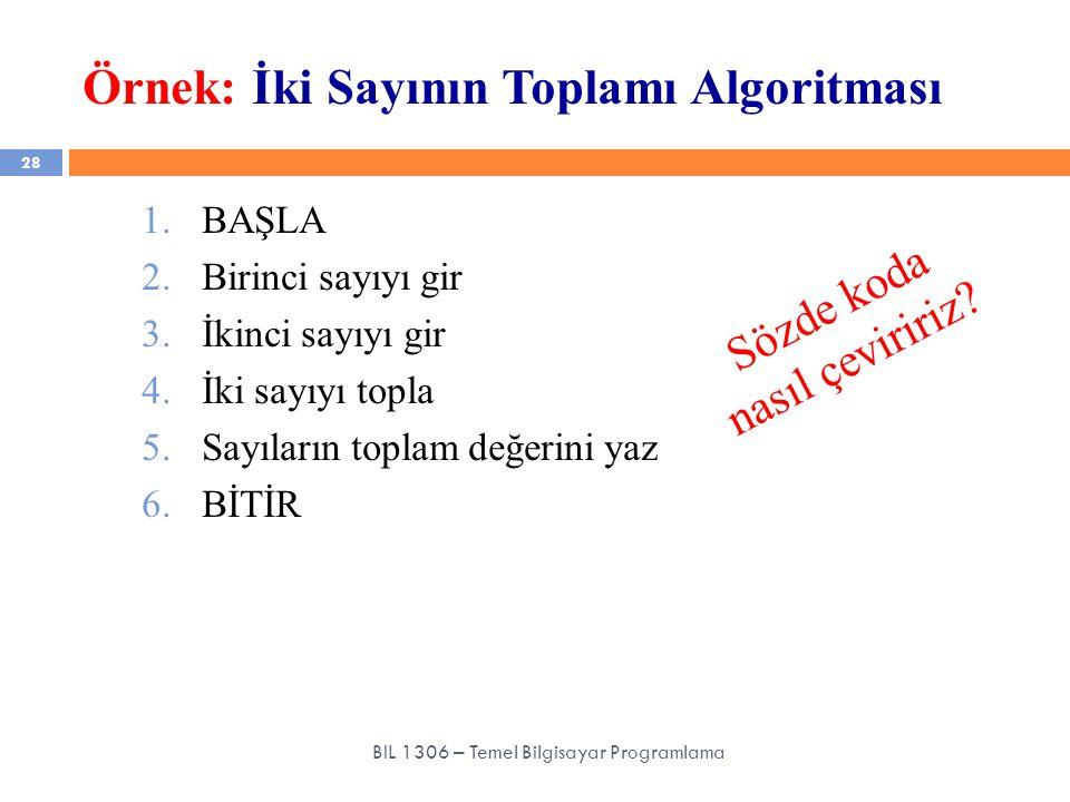 Örnek: İki Sayının Toplamı Algoritması 28 BIL 1306 – Temel Bilgisayar Programlama 1.BAŞLA 2.Birinci sayıyı gir 3.İkinci sayıyı gir 4.İki sayıyı topla