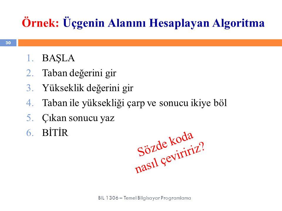 Örnek: Üçgenin Alanını Hesaplayan Algoritma 30 BIL 1306 – Temel Bilgisayar Programlama 1.BAŞLA 2.Taban değerini gir 3.Yükseklik değerini gir 4.Taban i
