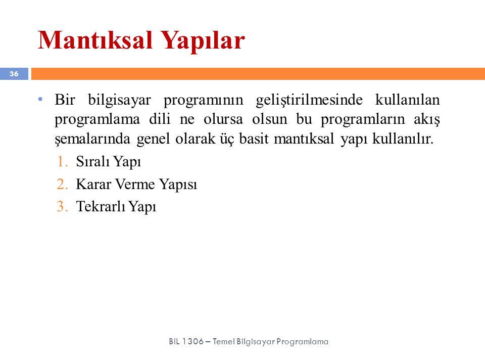 Mantıksal Yapılar 36 BIL 1306 – Temel Bilgisayar Programlama Bir bilgisayar programının geliştirilmesinde kullanılan programlama dili ne olursa olsun