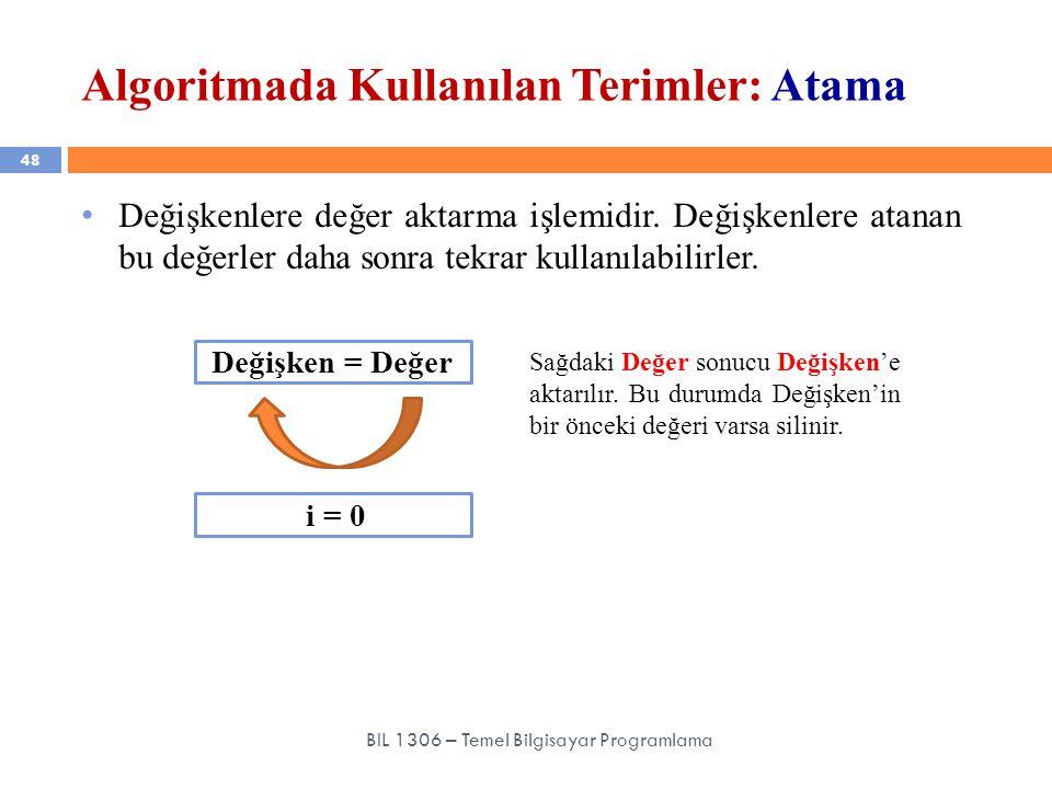 Algoritmada Kullanılan Terimler: Atama 48 BIL 1306 – Temel Bilgisayar Programlama Değişkenlere değer aktarma işlemidir. Değişkenlere atanan bu değerle