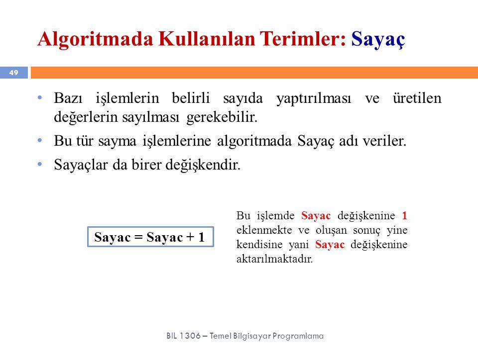 Algoritmada Kullanılan Terimler: Sayaç 49 BIL 1306 – Temel Bilgisayar Programlama Bazı işlemlerin belirli sayıda yaptırılması ve üretilen değerlerin s