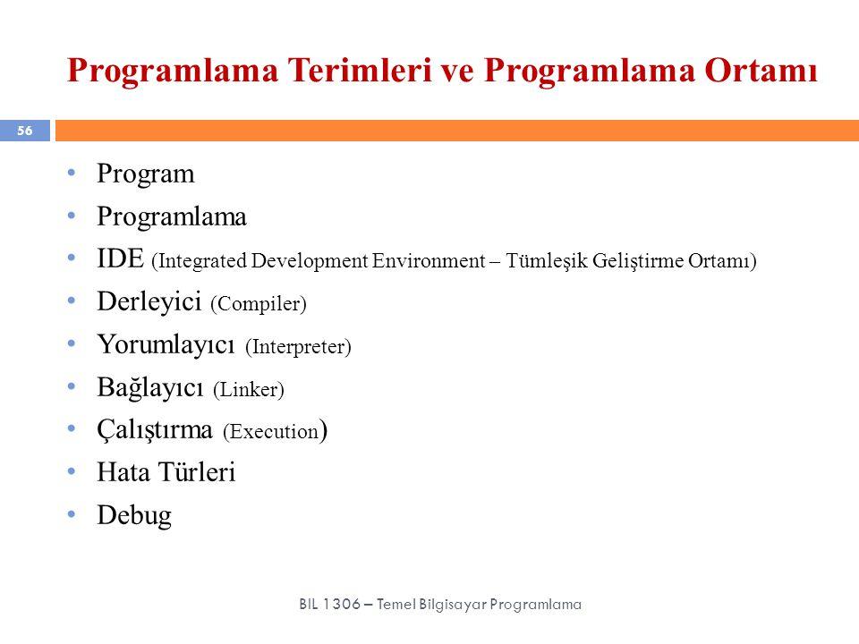 Programlama Terimleri ve Programlama Ortamı 56 BIL 1306 – Temel Bilgisayar Programlama Program Programlama IDE (Integrated Development Environment – T