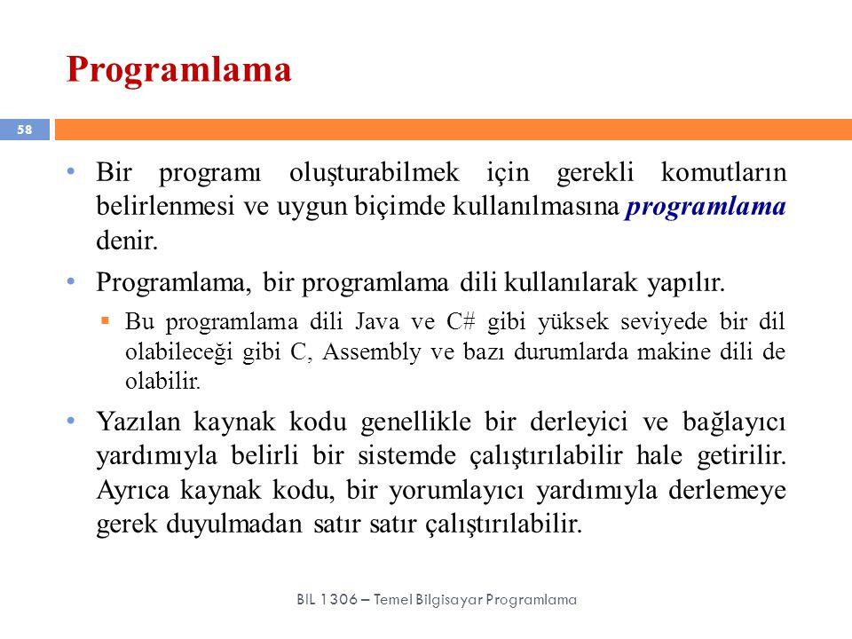 Programlama 58 BIL 1306 – Temel Bilgisayar Programlama Bir programı oluşturabilmek için gerekli komutların belirlenmesi ve uygun biçimde kullanılmasın