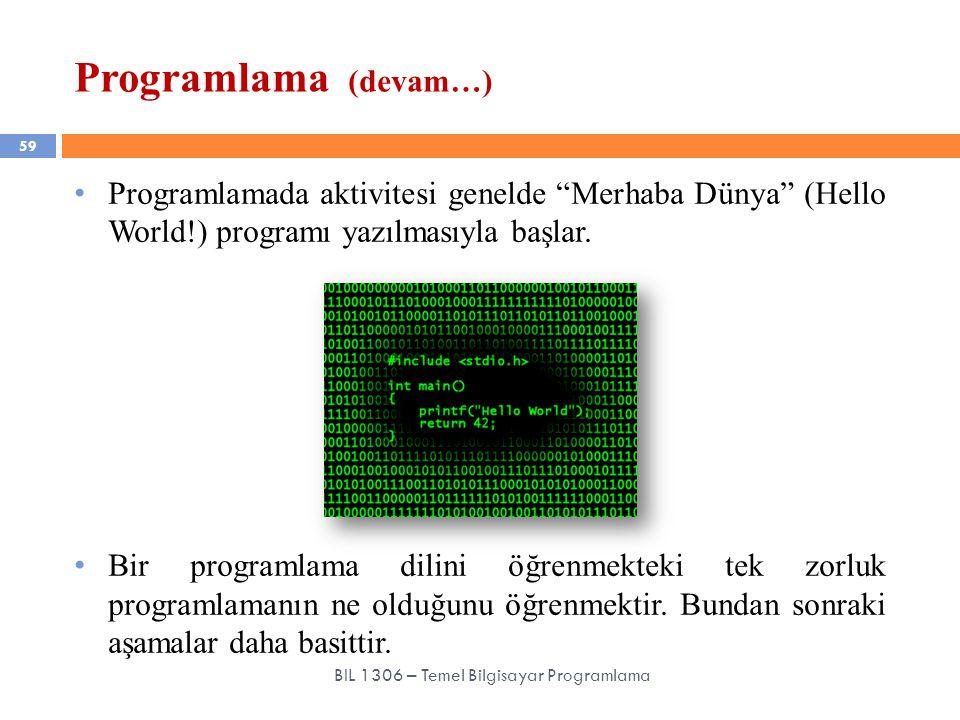 """Programlama (devam…) 59 BIL 1306 – Temel Bilgisayar Programlama Programlamada aktivitesi genelde """"Merhaba Dünya"""" (Hello World!) programı yazılmasıyla"""
