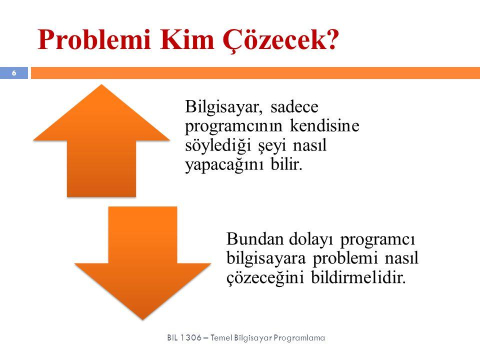 Program 57 BIL 1306 – Temel Bilgisayar Programlama Var olan bir problemi çözmek amacıyla bilgisayar dili kullanılarak oluşturulmuş anlatımlar (komutlar, kelimeler, aritmetik işlemler, mantıksal işlemler vb.) bütününe «program» denir.