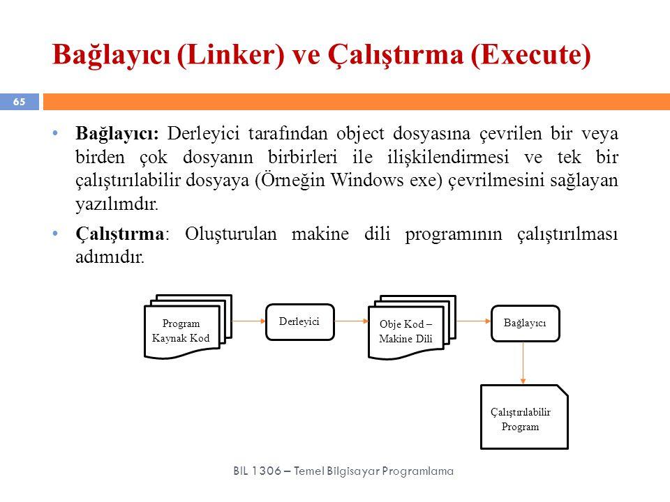 Bağlayıcı (Linker) ve Çalıştırma (Execute) 65 BIL 1306 – Temel Bilgisayar Programlama Bağlayıcı: Derleyici tarafından object dosyasına çevrilen bir ve