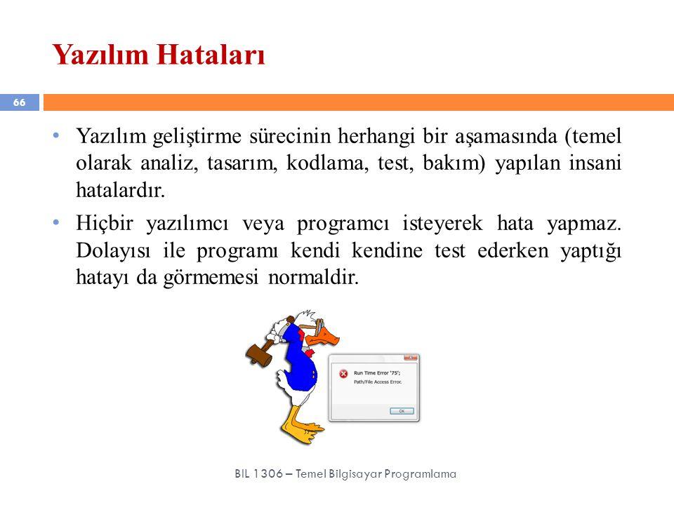 Yazılım Hataları 66 BIL 1306 – Temel Bilgisayar Programlama Yazılım geliştirme sürecinin herhangi bir aşamasında (temel olarak analiz, tasarım, kodlam