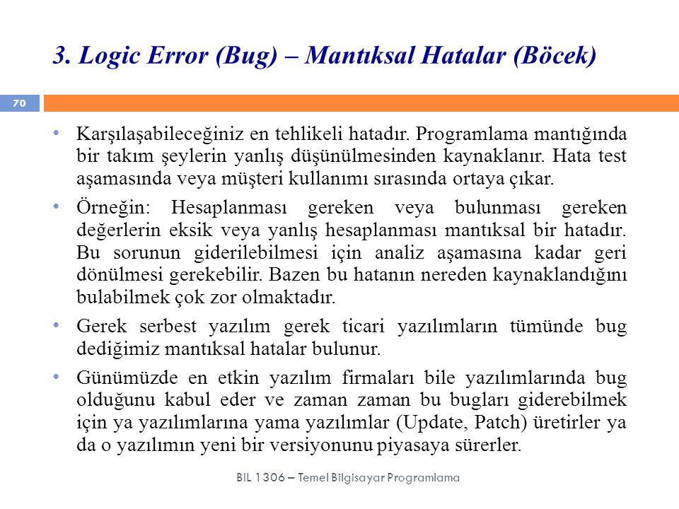 3. Logic Error (Bug) – Mantıksal Hatalar (Böcek) 70 BIL 1306 – Temel Bilgisayar Programlama Karşılaşabileceğiniz en tehlikeli hatadır. Programlama man