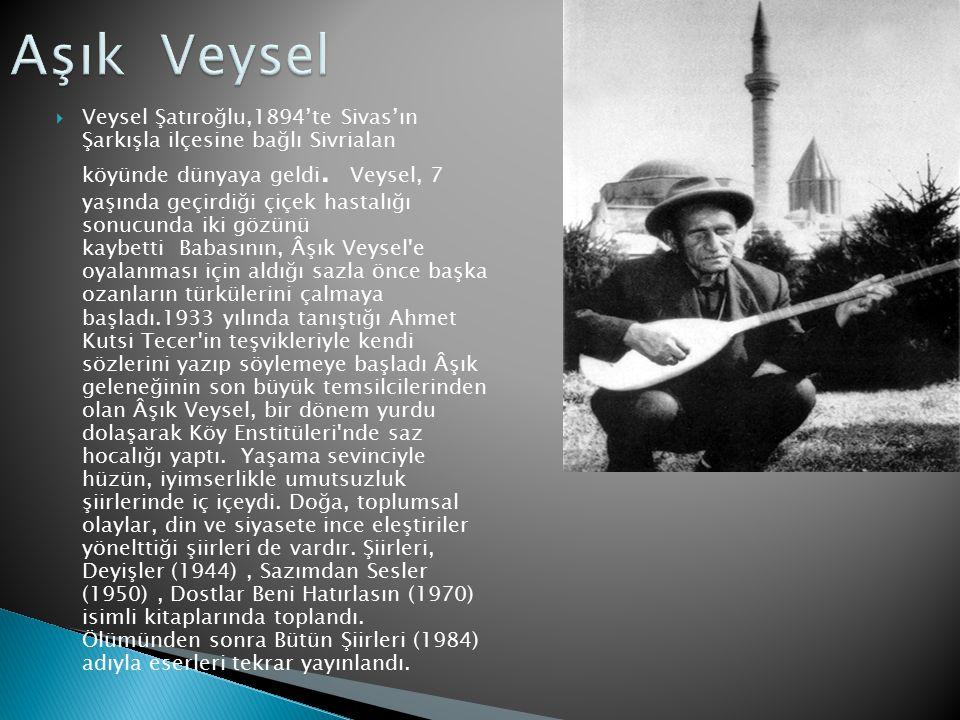  Veysel Şatıroğlu,1894'te Sivas'ın Şarkışla ilçesine bağlı Sivrialan köyünde dünyaya geldi. Veysel, 7 yaşında geçirdiği çiçek hastalığı sonucunda iki