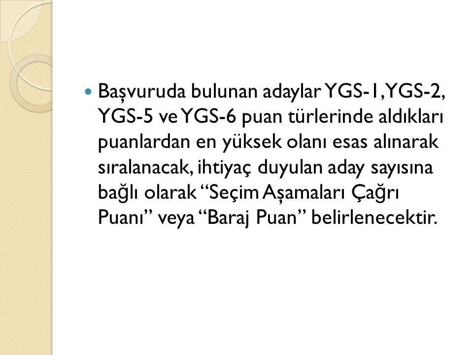 Başvuruda bulunan adaylar YGS-1, YGS-2, YGS-5 ve YGS-6 puan türlerinde aldıkları puanlardan en yüksek olanı esas alınarak sıralanacak, ihtiyaç duyulan
