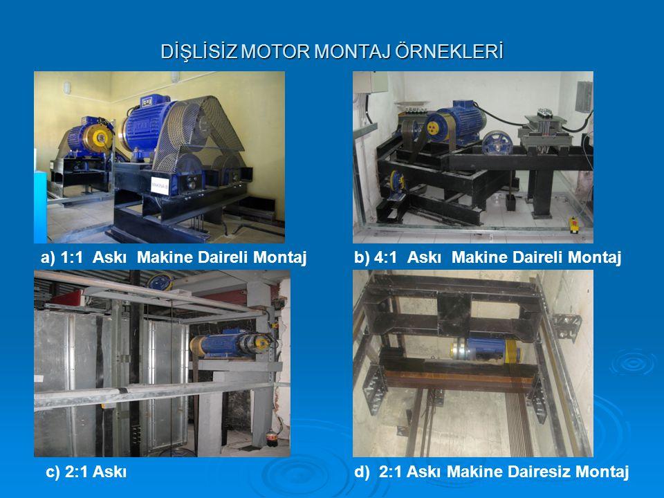 DİŞLİSİZ MOTOR MONTAJ ÖRNEKLERİ a) 1:1 Askı Makine Daireli Montajb) 4:1 Askı Makine Daireli Montaj c) 2:1 Askıd) 2:1 Askı Makine Dairesiz Montaj