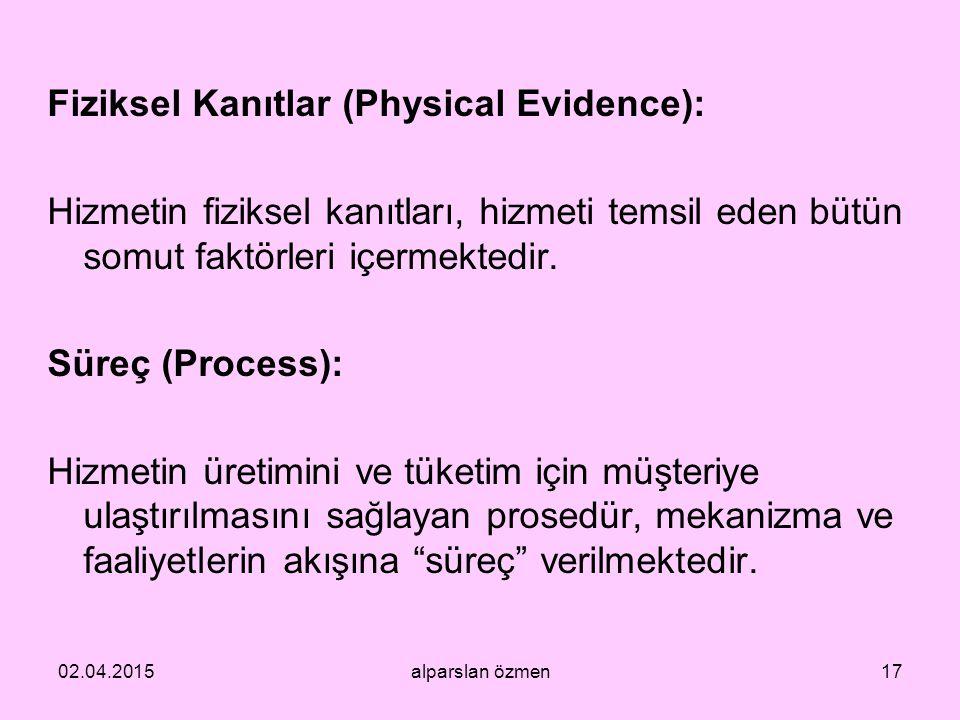 Fiziksel Kanıtlar (Physical Evidence): Hizmetin fiziksel kanıtları, hizmeti temsil eden bütün somut faktörleri içermektedir. Süreç (Process): Hizmetin