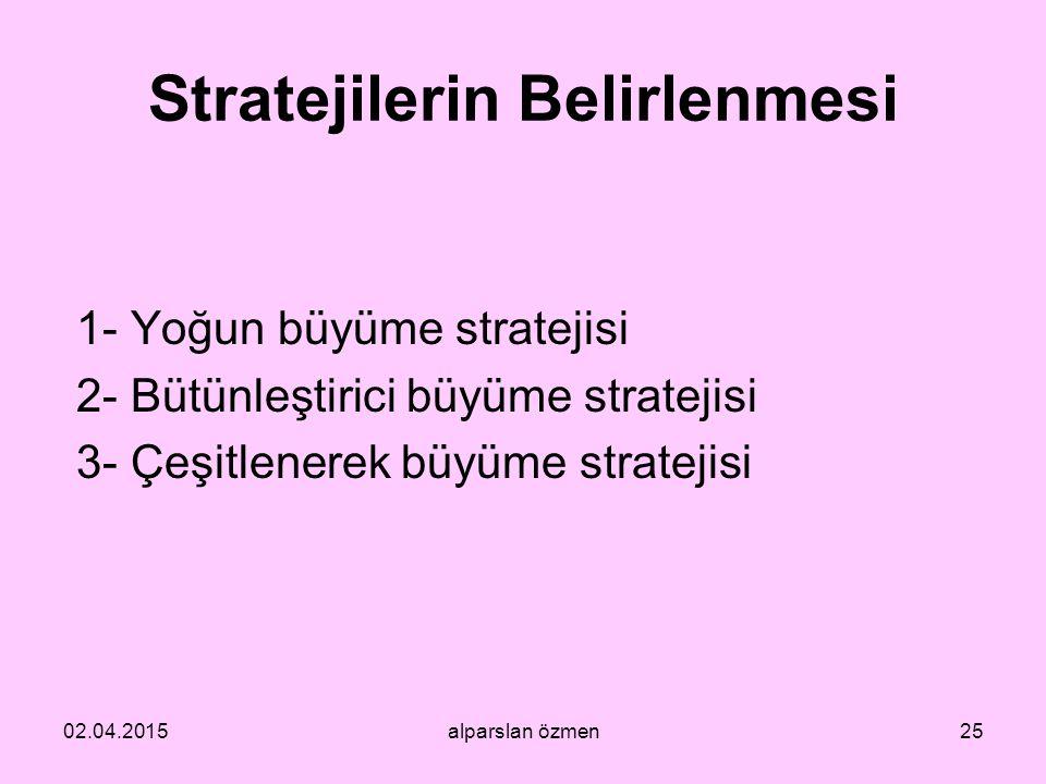 Stratejilerin Belirlenmesi 1- Yoğun büyüme stratejisi 2- Bütünleştirici büyüme stratejisi 3- Çeşitlenerek büyüme stratejisi 02.04.2015alparslan özmen2