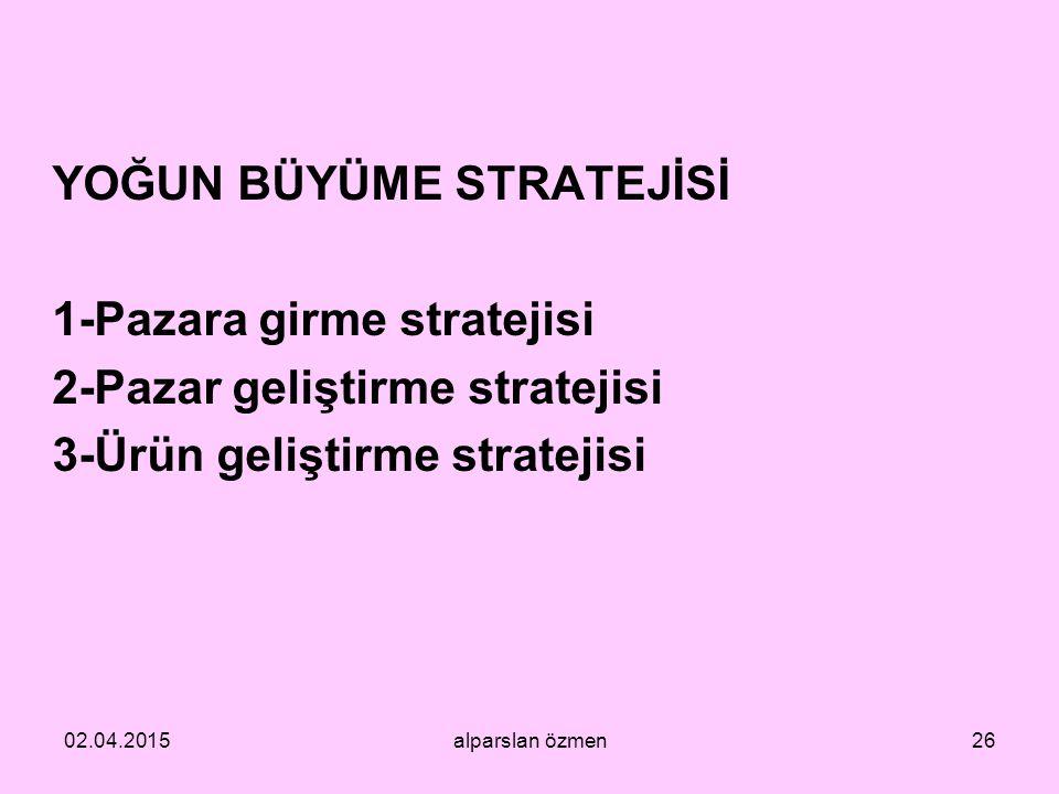 YOĞUN BÜYÜME STRATEJİSİ 1-Pazara girme stratejisi 2-Pazar geliştirme stratejisi 3-Ürün geliştirme stratejisi 02.04.2015alparslan özmen26