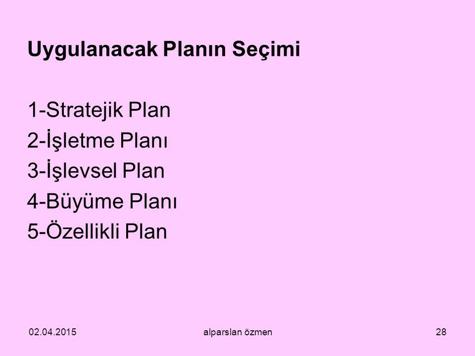 Uygulanacak Planın Seçimi 1-Stratejik Plan 2-İşletme Planı 3-İşlevsel Plan 4-Büyüme Planı 5-Özellikli Plan 02.04.2015alparslan özmen28