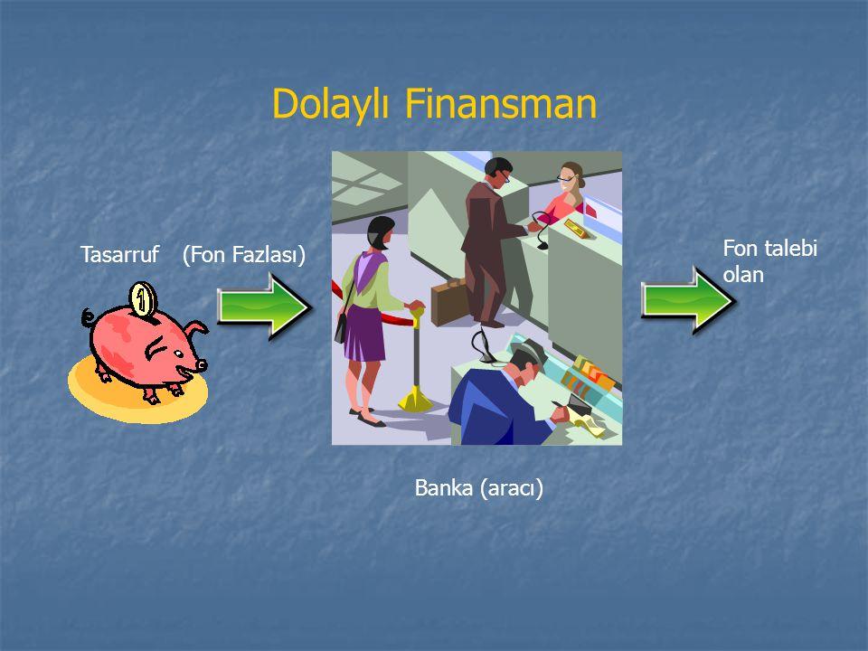 Banka (aracı) Tasarruf Fon talebi olan Dolaylı Finansman (Fon Fazlası)