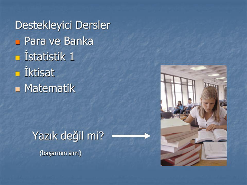 Destekleyici Dersler Para ve Banka Para ve Banka İstatistik 1 İstatistik 1 İktisat İktisat Matematik Matematik Yazık değil mi.