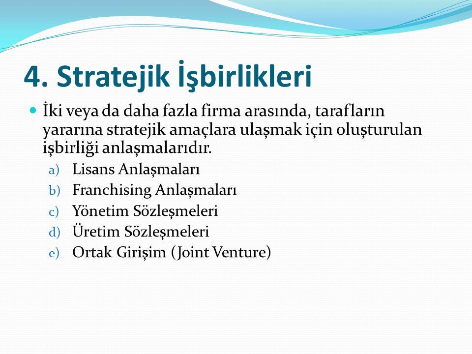 4. Stratejik İşbirlikleri İki veya da daha fazla firma arasında, tarafların yararına stratejik amaçlara ulaşmak için oluşturulan işbirliği anlaşmaları