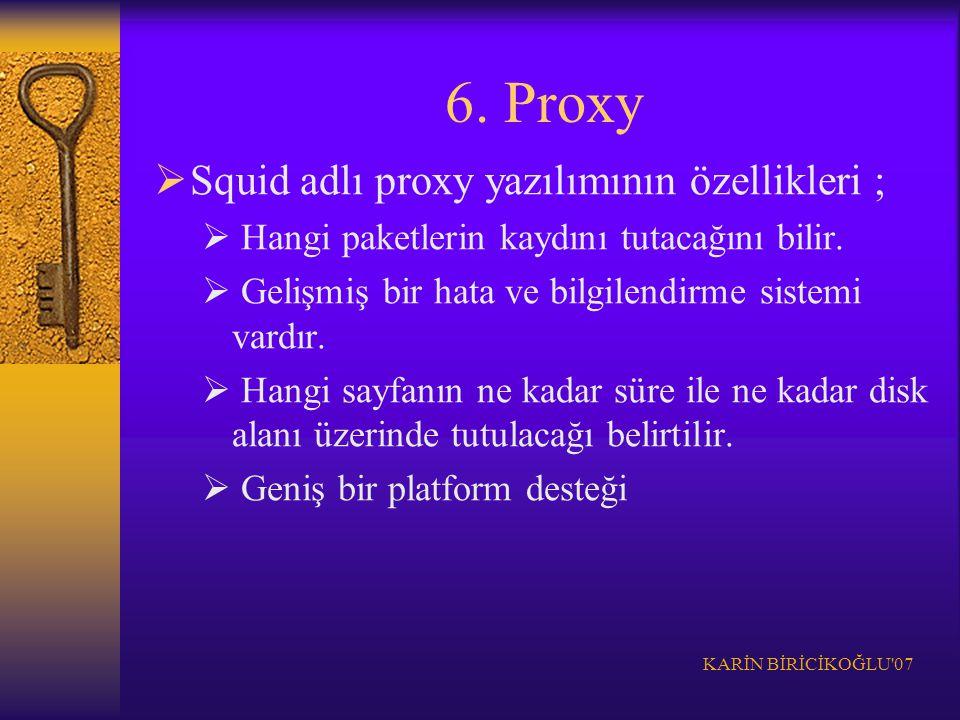KARİN BİRİCİKOĞLU'07 6. Proxy  Squid adlı proxy yazılımının özellikleri ;  Hangi paketlerin kaydını tutacağını bilir.  Gelişmiş bir hata ve bilgile