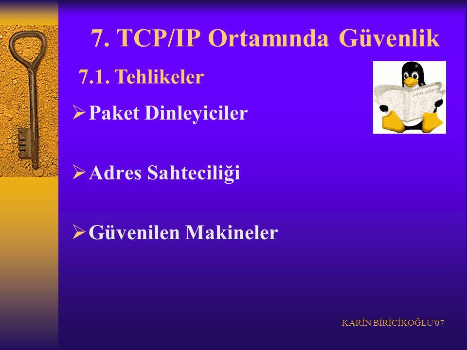KARİN BİRİCİKOĞLU'07 7. TCP/IP Ortamında Güvenlik  Paket Dinleyiciler  Adres Sahteciliği  Güvenilen Makineler 7.1. Tehlikeler