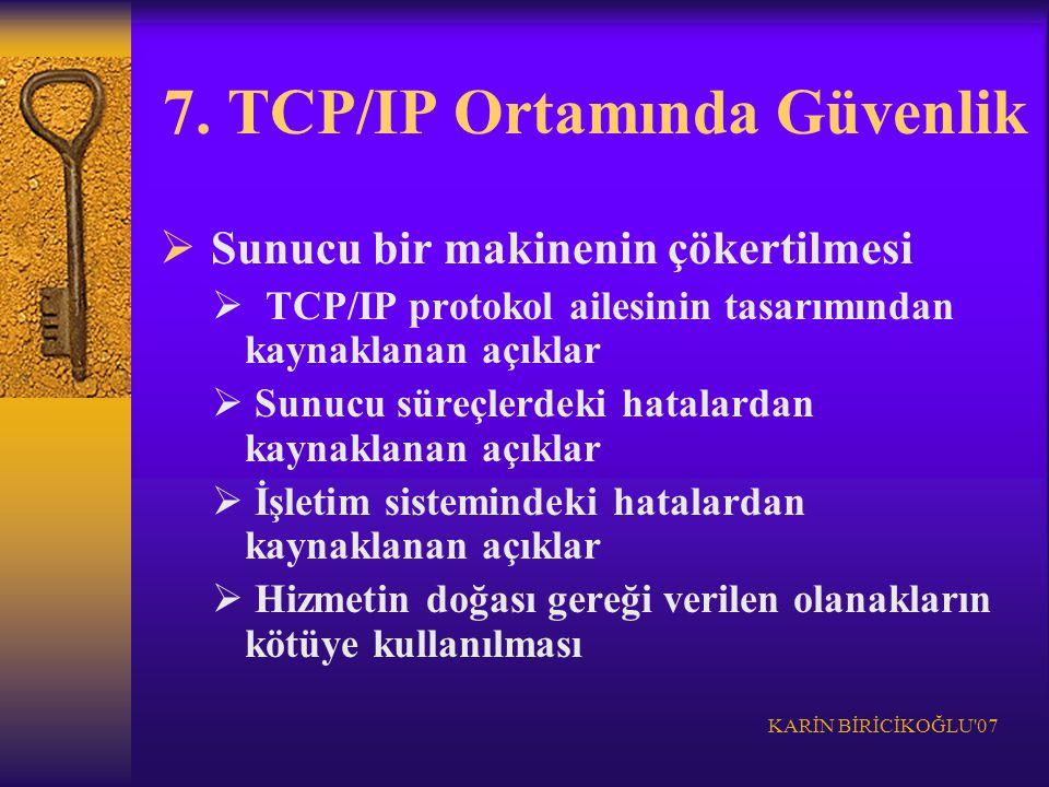 KARİN BİRİCİKOĞLU'07 7. TCP/IP Ortamında Güvenlik  Sunucu bir makinenin çökertilmesi  TCP/IP protokol ailesinin tasarımından kaynaklanan açıklar  S