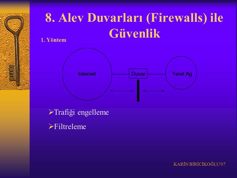 KARİN BİRİCİKOĞLU'07 8. Alev Duvarları (Firewalls) ile Güvenlik 1. Yöntem  Trafiği engelleme  Filtreleme