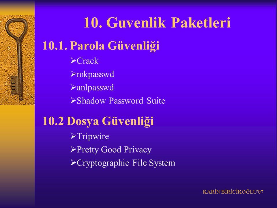 KARİN BİRİCİKOĞLU'07 10. Guvenlik Paketleri 10.1. Parola Güvenliği  Crack  mkpasswd  anlpasswd  Shadow Password Suite 10.2 Dosya Güvenliği  Tripw