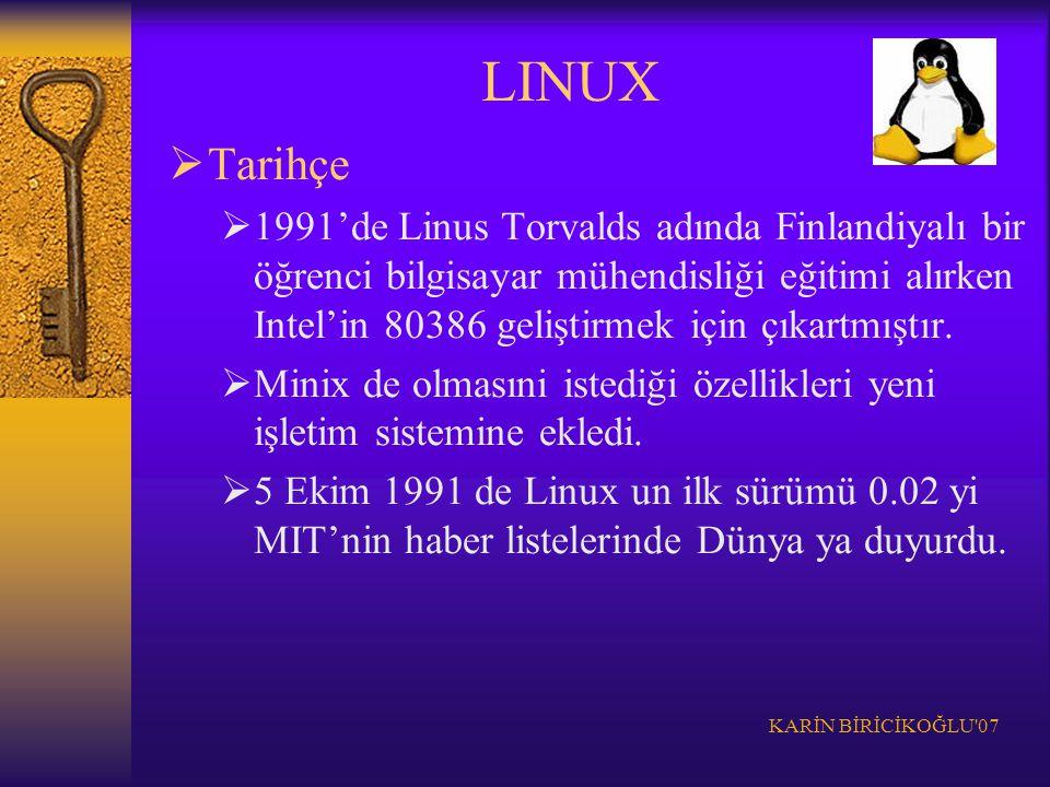 KARİN BİRİCİKOĞLU'07  Tarihçe  1991'de Linus Torvalds adında Finlandiyalı bir öğrenci bilgisayar mühendisliği eğitimi alırken Intel'in 80386 gelişti