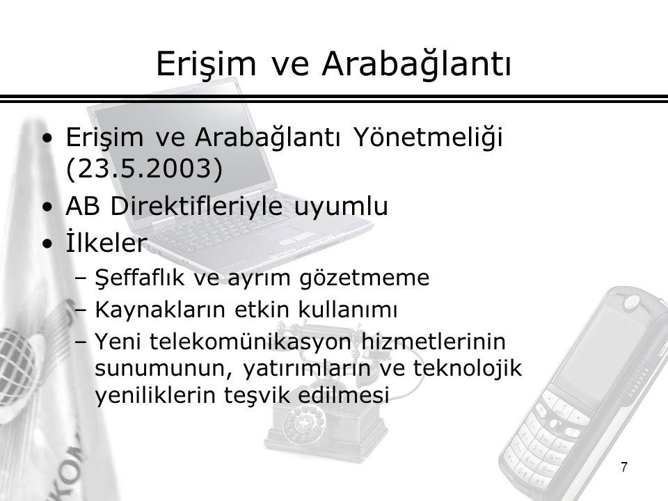 8 Tarifeler Tarife Yönetmeliği –Ağustos 2001'de yürürlüğe girdi.