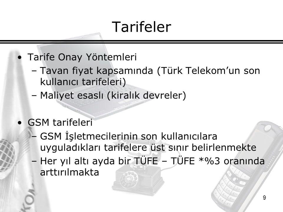 9 Tarifeler Tarife Onay Yöntemleri –Tavan fiyat kapsamında (Türk Telekom'un son kullanıcı tarifeleri) –Maliyet esaslı (kiralık devreler) GSM tarifeleri –GSM İşletmecilerinin son kullanıcılara uyguladıkları tarifelere üst sınır belirlenmekte –Her yıl altı ayda bir TÜFE – TÜFE *%3 oranında arttırılmakta