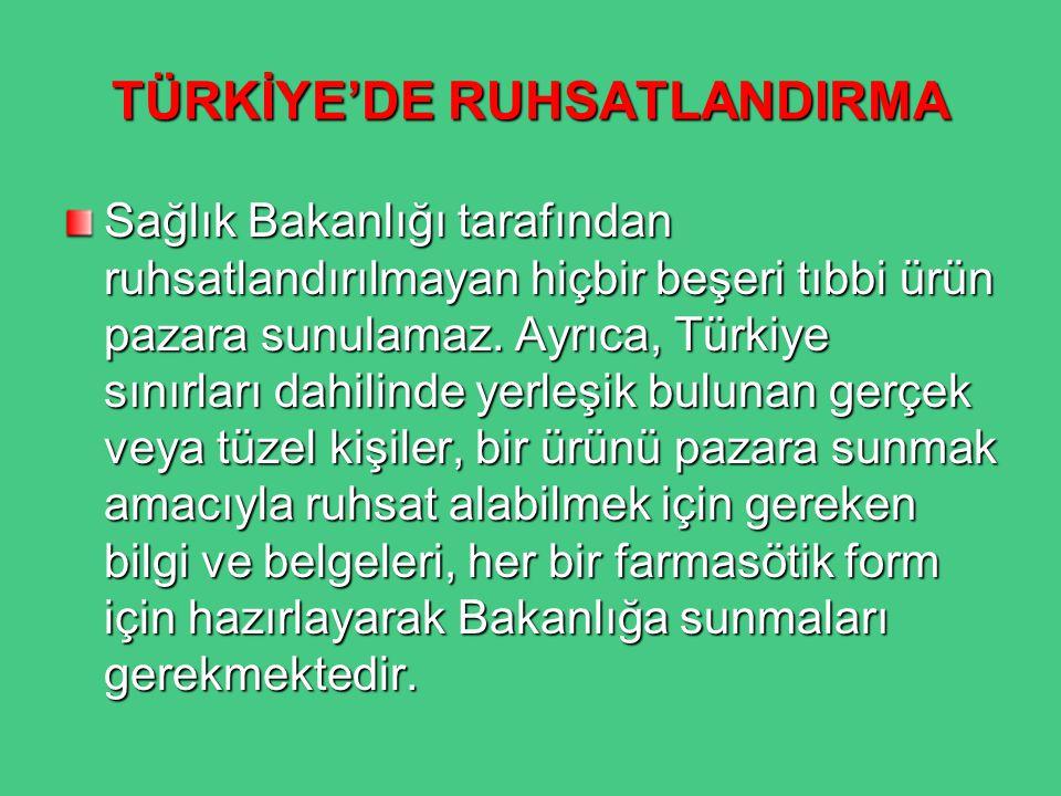 TÜRKİYE'DE RUHSATLANDIRMA Sağlık Bakanlığı tarafından ruhsatlandırılmayan hiçbir beşeri tıbbi ürün pazara sunulamaz. Ayrıca, Türkiye sınırları dahilin