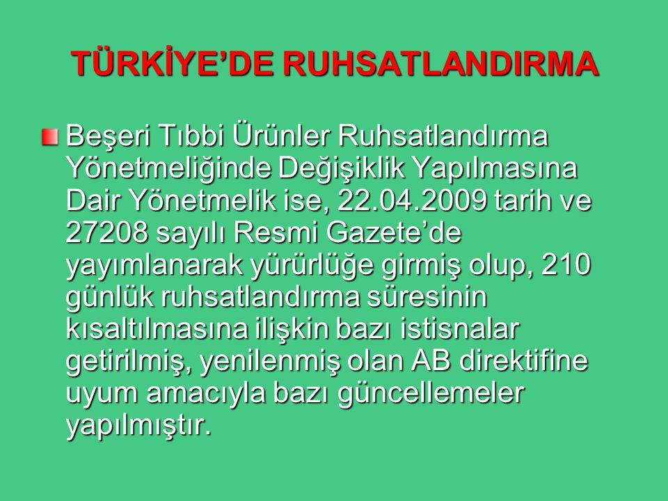 TÜRKİYE'DE RUHSATLANDIRMA Beşeri Tıbbi Ürünler Ruhsatlandırma Yönetmeliğinde Değişiklik Yapılmasına Dair Yönetmelik ise, 22.04.2009 tarih ve 27208 say