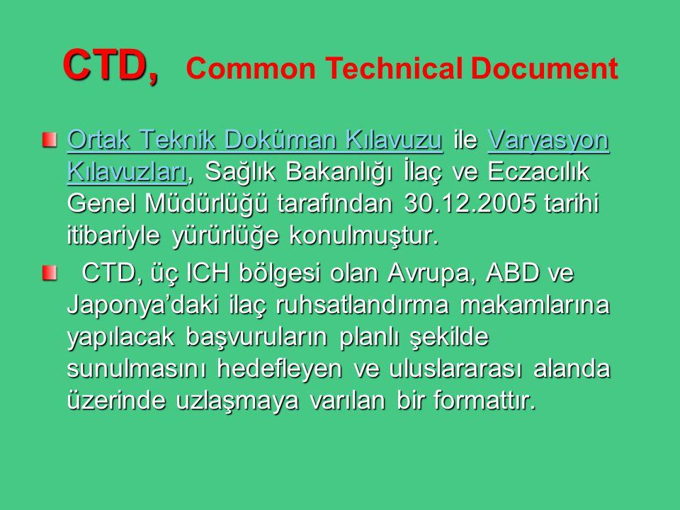 CTD, CTD, Common Technical Document Ortak Teknik Doküman KılavuzuOrtak Teknik Doküman Kılavuzu ile Varyasyon Kılavuzları, Sağlık Bakanlığı İlaç ve Ecz