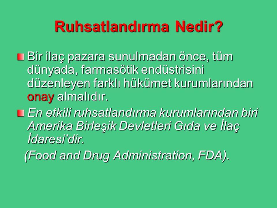 Ruhsatlandırma Nedir? Bir ilaç pazara sunulmadan önce, tüm dünyada, farmasötik endüstrisini düzenleyen farklı hükümet kurumlarından onay almalıdır. En