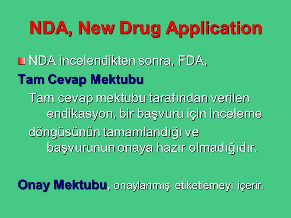NDA, New Drug Application NDA incelendikten sonra, FDA, Tam Cevap Mektubu Tam cevap mektubu tarafından verilen endikasyon, bir başvuru için inceleme d