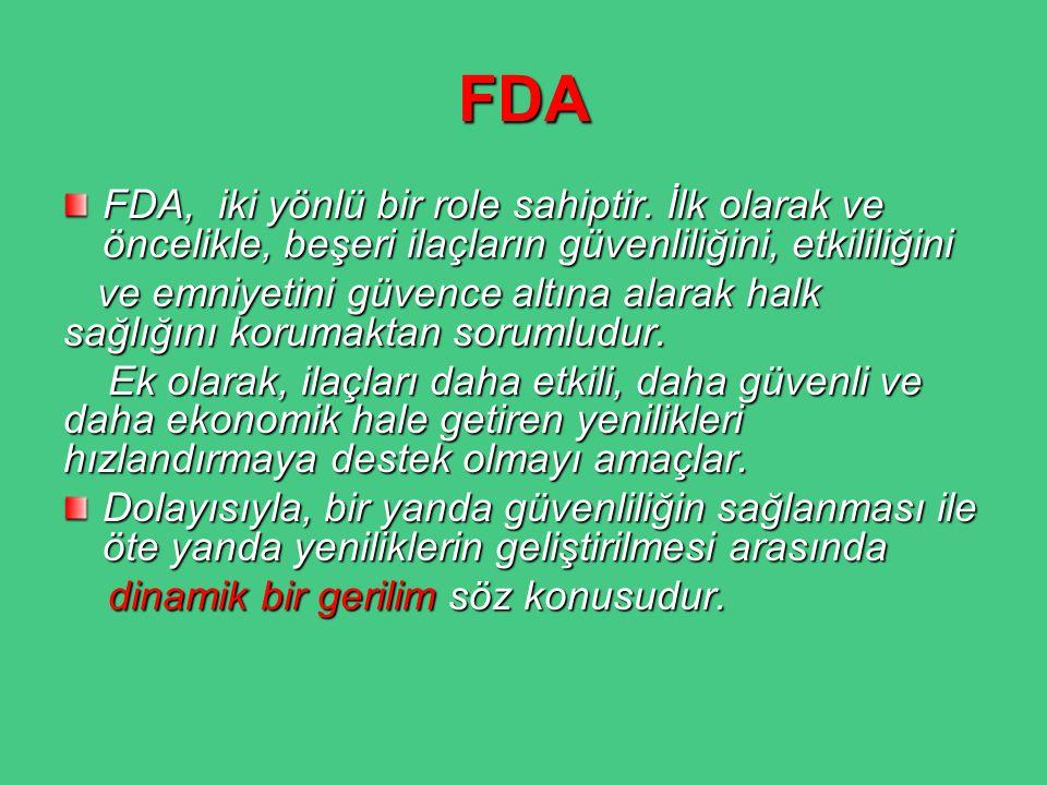 FDA FDA, iki yönlü bir role sahiptir. İlk olarak ve öncelikle, beşeri ilaçların güvenliliğini, etkililiğini ve emniyetini güvence altına alarak halk s