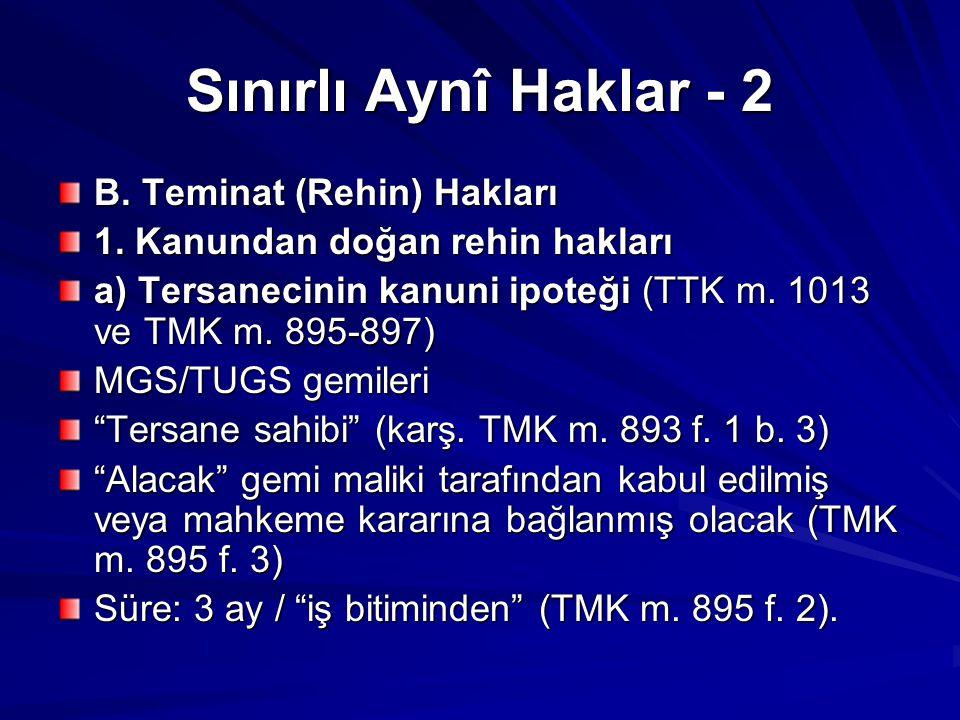 Sınırlı Aynî Haklar - 2 B.Teminat (Rehin) Hakları 1.