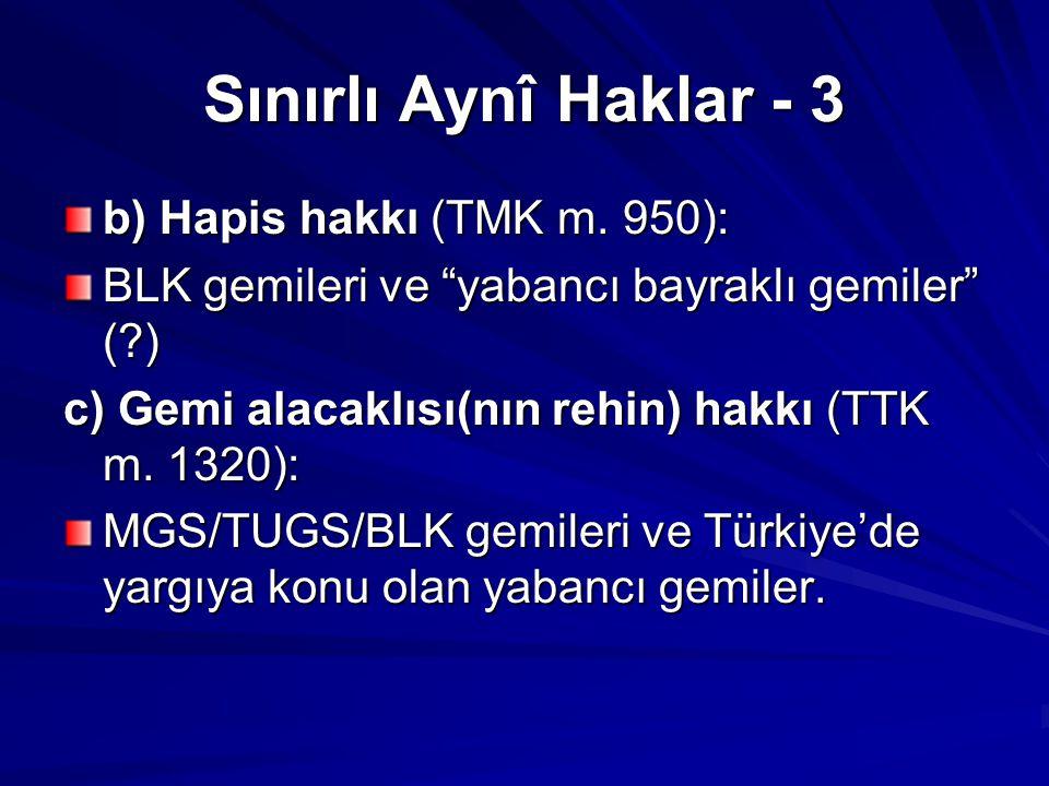 Sınırlı Aynî Haklar - 3 b) Hapis hakkı (TMK m.