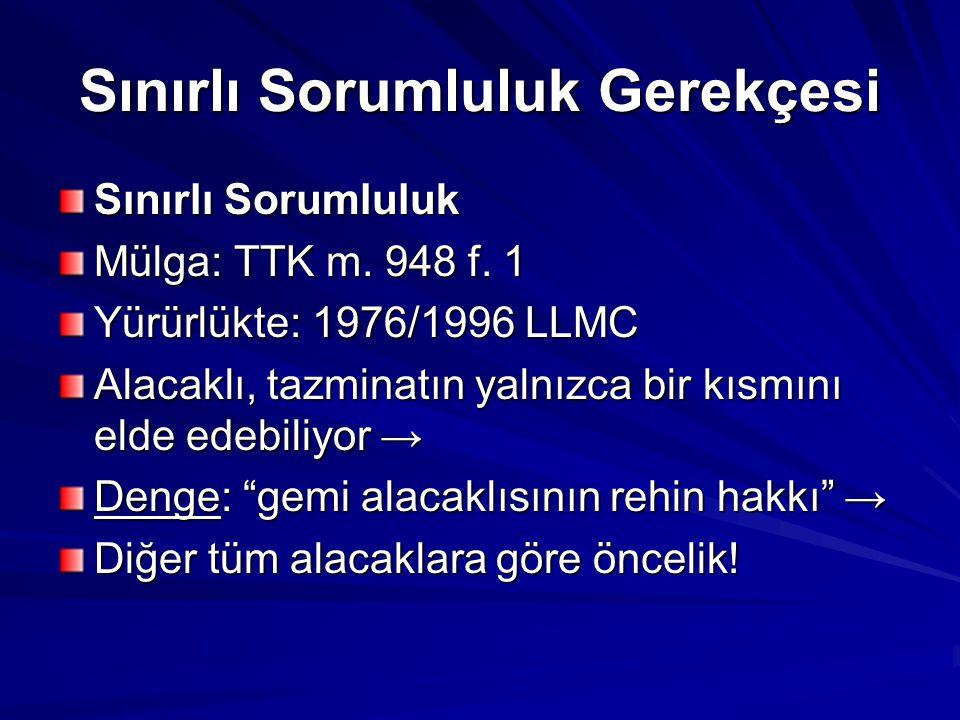 Sınırlı Sorumluluk Gerekçesi Sınırlı Sorumluluk Mülga: TTK m.