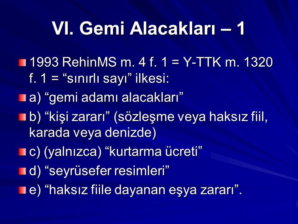 VI.Gemi Alacakları – 1 1993 RehinMS m. 4 f. 1 = Y-TTK m.