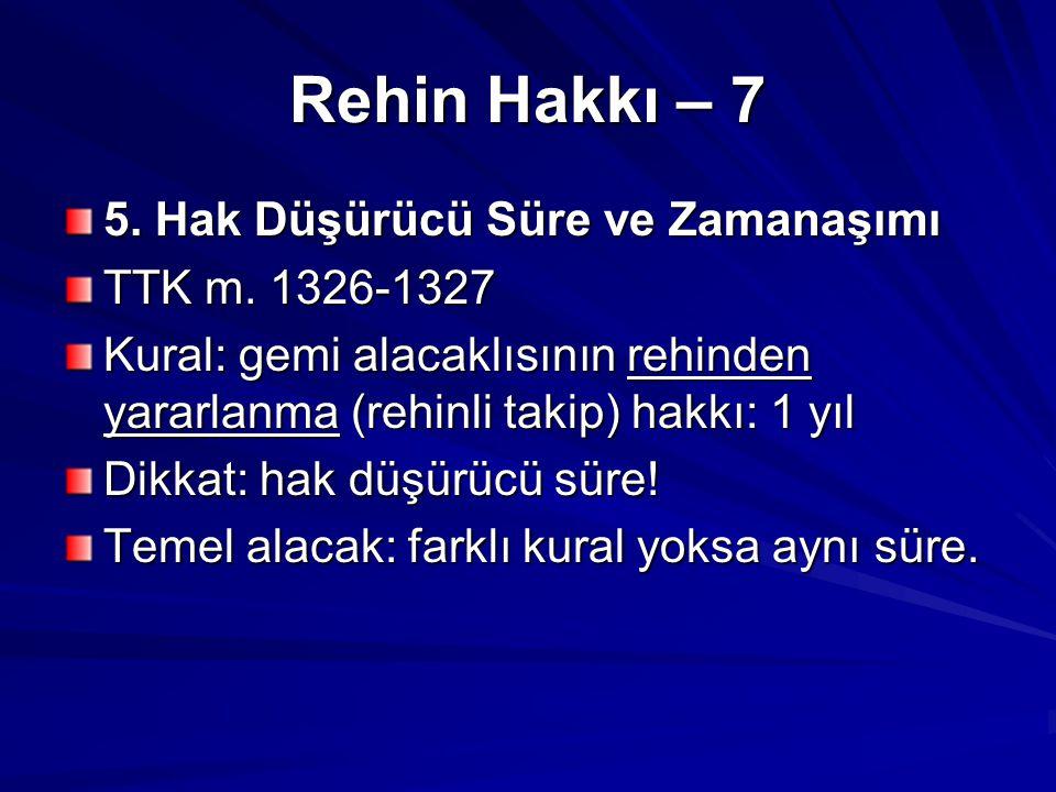 Rehin Hakkı – 7 5.Hak Düşürücü Süre ve Zamanaşımı TTK m.
