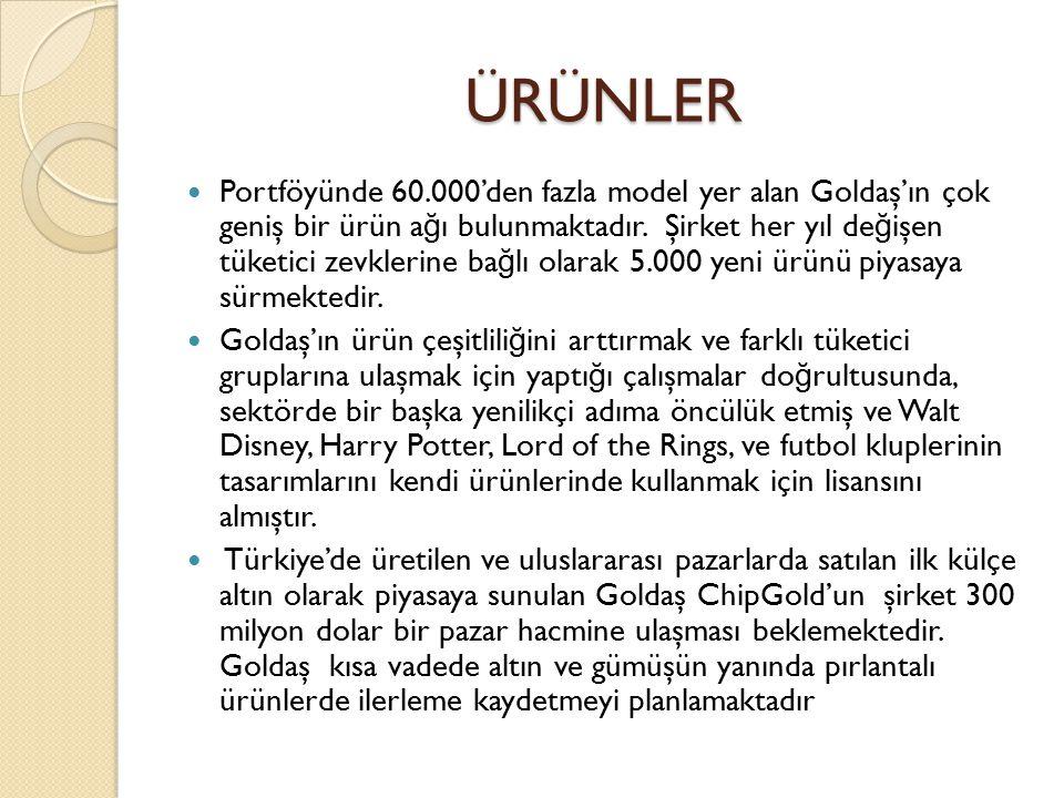 ÜRÜNLER Portföyünde 60.000'den fazla model yer alan Goldaş'ın çok geniş bir ürün a ğ ı bulunmaktadır. Şirket her yıl de ğ işen tüketici zevklerine ba