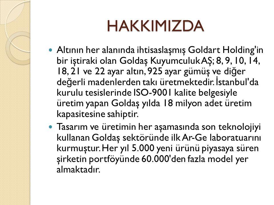 HAKKIMIZDA Altının her alanında ihtisaslaşmış Goldart Holding'in bir iştiraki olan Goldaş Kuyumculuk AŞ; 8, 9, 10, 14, 18, 21 ve 22 ayar altın, 925 ay