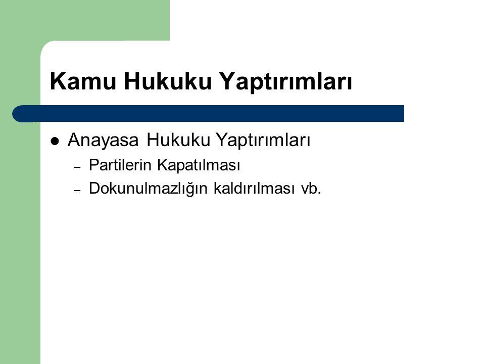 Kamu Hukuku Yaptırımları Anayasa Hukuku Yaptırımları – Partilerin Kapatılması – Dokunulmazlığın kaldırılması vb.