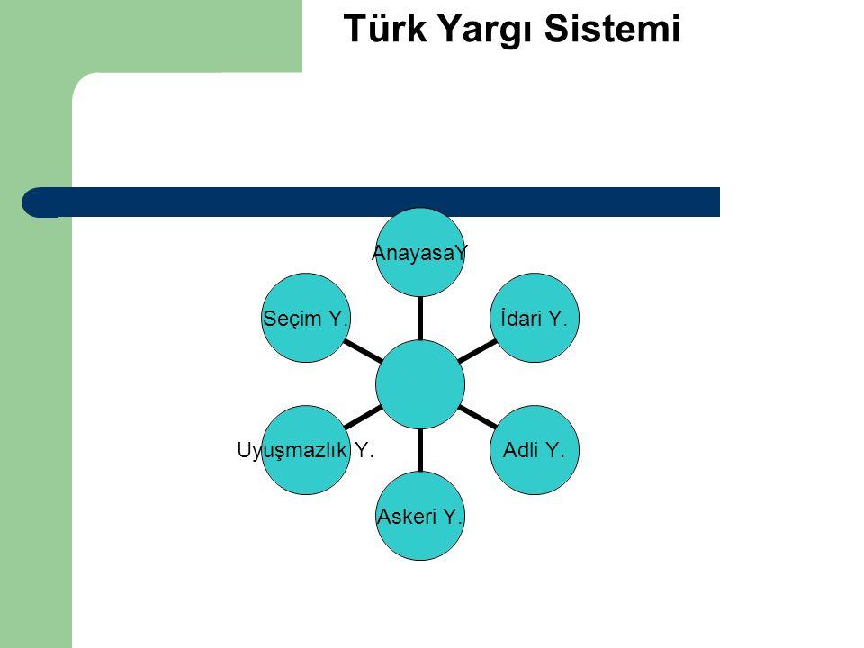 Türk Yargı Sistemi AnayasaYİdari Y.Adli Y.Askeri Y. Uyuşmazlık Y. Seçim Y.