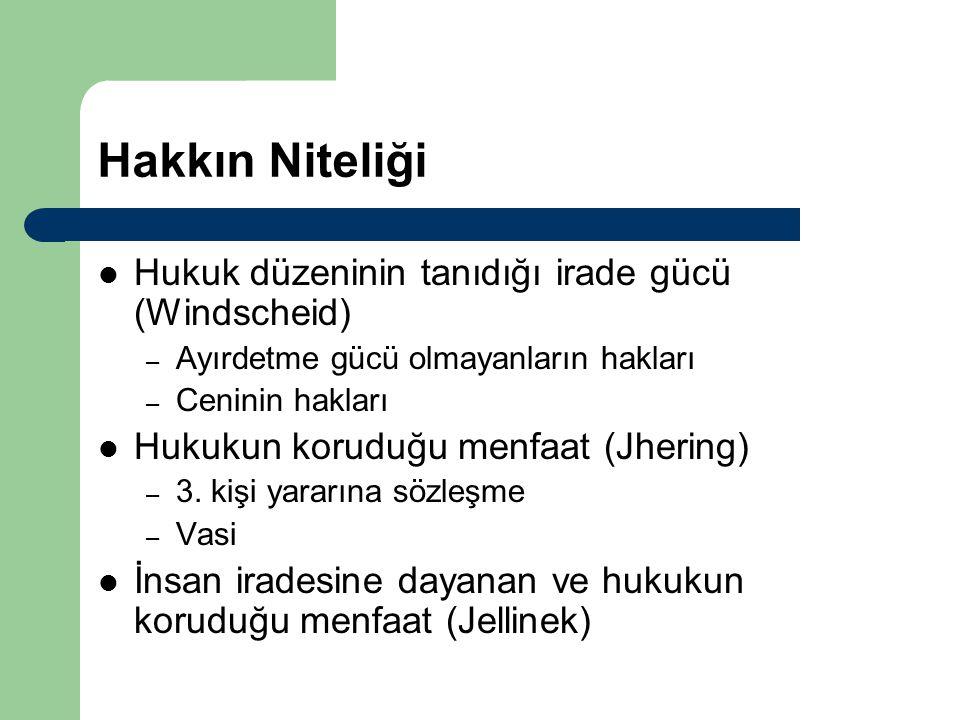 Hakkın Niteliği Hukuk düzeninin tanıdığı irade gücü (Windscheid) – Ayırdetme gücü olmayanların hakları – Ceninin hakları Hukukun koruduğu menfaat (Jhe