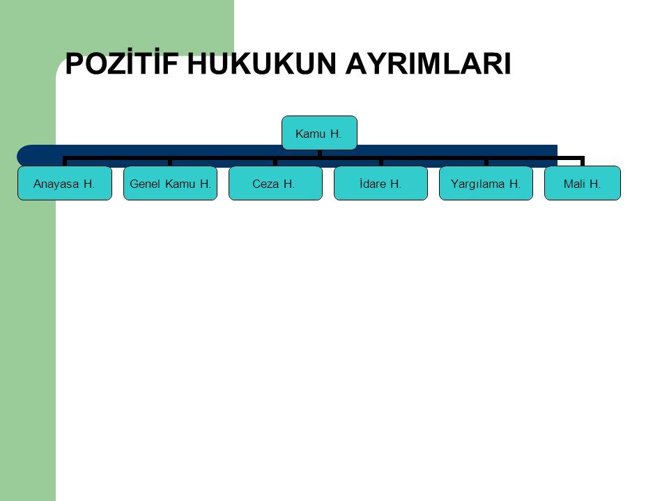 POZİTİF HUKUKUN AYRIMLARI Kamu H. Anayasa H. Genel Kamu H. Ceza H.İdare H. Yargılama H. Mali H.